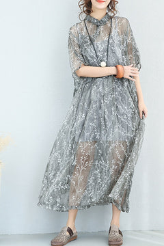 National Vintage Printed Button Down Cotton Long Dress 7118