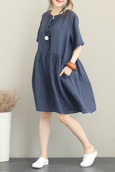 Loose Blue 100% Linen Dresses Women Casual Clothes Q1253