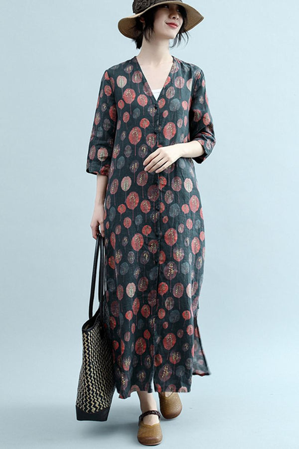 Summer V Neck Elegant Floral Cotton Linen Dresses For Women Q2345
