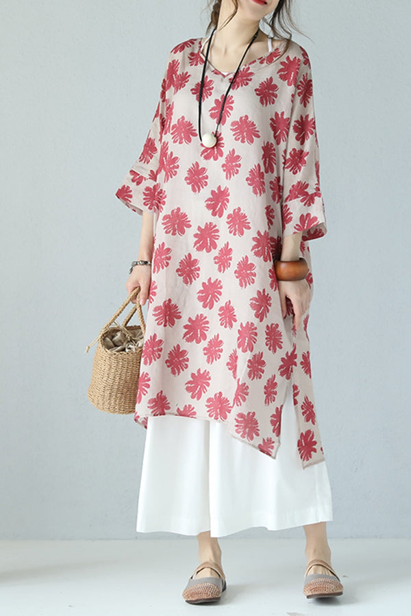 Cute V Neck Floral Red Silk Linen Long Dress Women Clothes