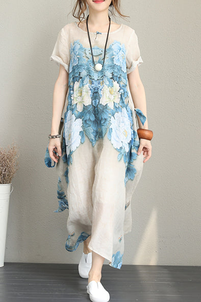 Vintage Loose Blue Print Maxi Dresses Women Casual Clothes Q1228