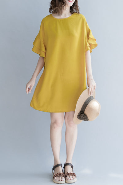 Casual Cute Short Yellow Dresses Women Fashion Clothes Q1263