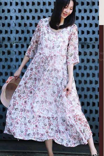Casual Pink Floral Chiffon Dresses Women Fashion Clothes Q8083