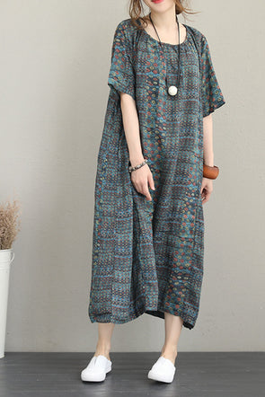 Vintage Loose Print Linen Dresses Women Casual Clothes Q1189