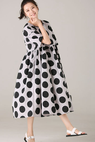 Casual Polka Dot Dresses Women Cute Outfits Q2007