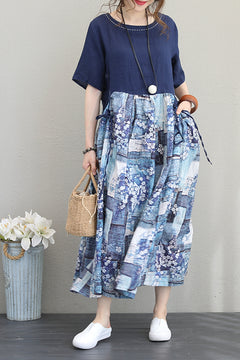 Women Long Blue Dresses Summer Linen Floral Clothes Q1137