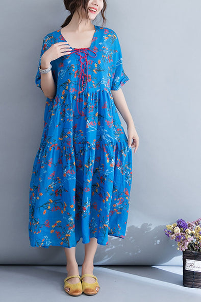 National Blue Floral Maxi Dresses Women Linen Clothes Q4072