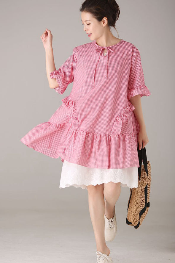 Cute Plaid Cotton Dresses Women Fashion Summer Clothes Q2360