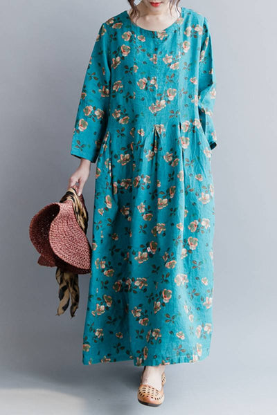 Blue Cute Floral Women Long Dresses  Causal Lady Dress Q20418
