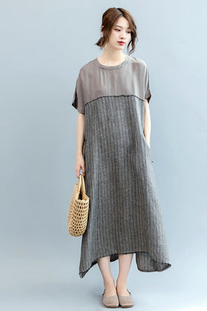 Loose Striped Maxi Dresses Women Linen Clothes Q2567