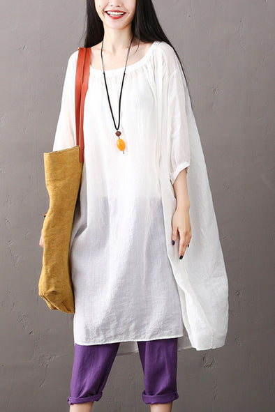 Women White Long Dresses Summer Cotton Linen Clothes Q1968