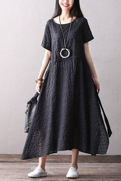 Elegant Black Maxi Dresses Women Cotton Linen Clothes Q2066