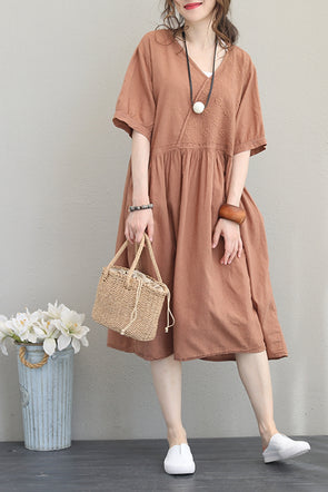 Vintage Embroidery Cotton Dresses Women Casual Clothes Q1162