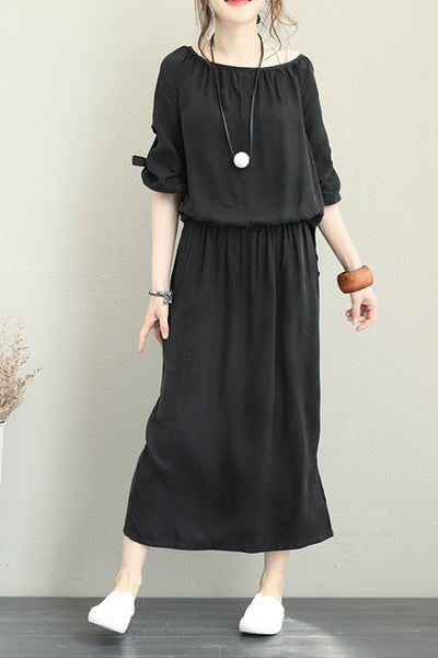 Casual Black Maxi Dresses Women Fashion Outfits Q1283