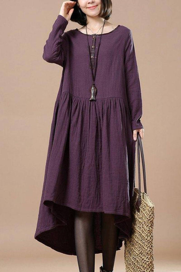 Casual Cotton Linen Maxi Dress For Women Q30415 - FantasyLinen