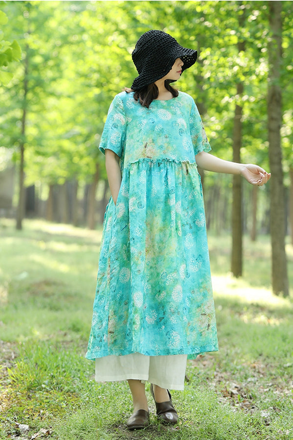 Fresh Floral High Waist Drawstring Linen Dress Q70514