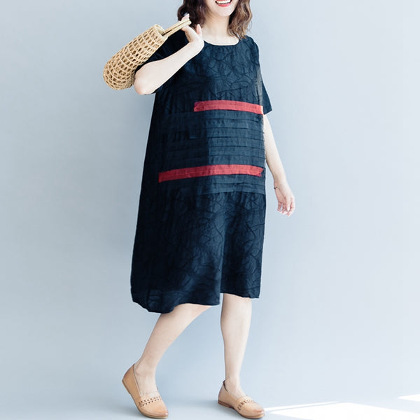 Casual Black Striped Linen Dresses Women Fashion Clothes Q3071