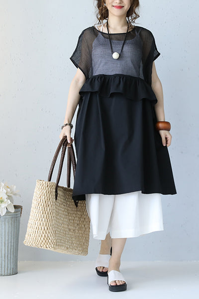 Fashion Black Contrast Mesh Sheer Long Dress Q1068