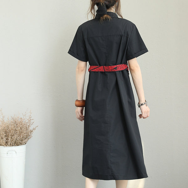 Casual Embroidery Black Shirt Dresses Women Cotton Clothes Q1289