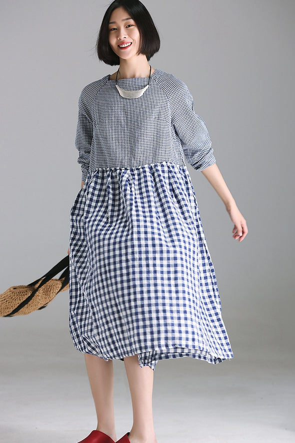 Casual Blue Plaid Cotton Linen Dresses Women Fall Clothes Q1851