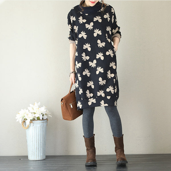 Cute High Neck Black Print Cotton Dresses For Women Q1759