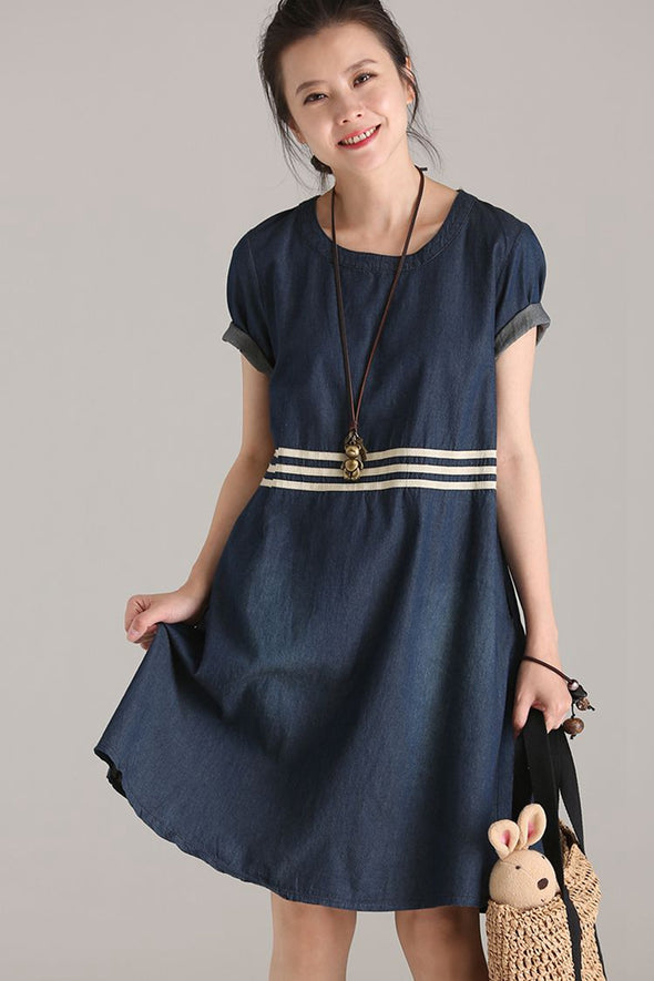 Casual A Line Cotton Dresses Women Denim Clothes Q8813 - FantasyLinen