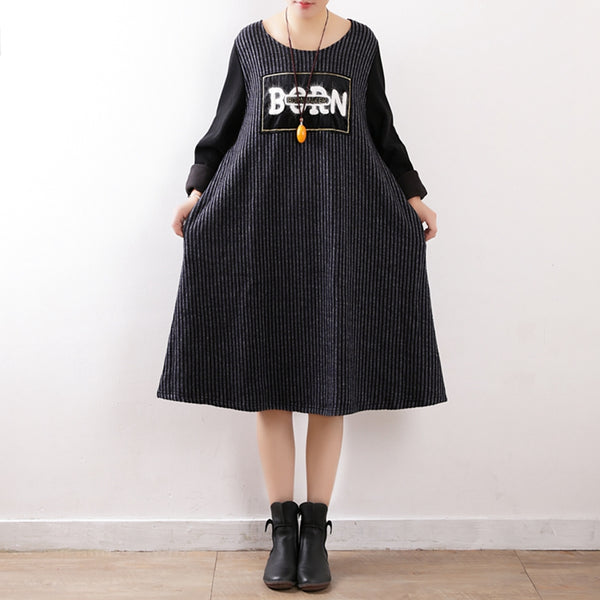 Women Black Loose Quilted Knitted Dresses Casual Clothes Q2313