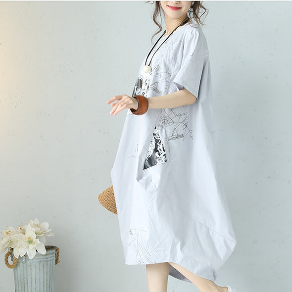 Loose Round Neck Printed Dress Women Long Clothes Q1095