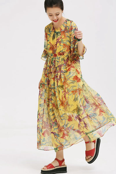 Loose Yellow Floral Plus Sweep Dress With Lining Q803  667dbc7b6