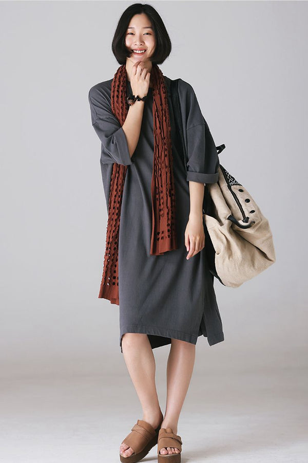 Vintage Loose Cotton Dresses Summer Outfits For Women Q931