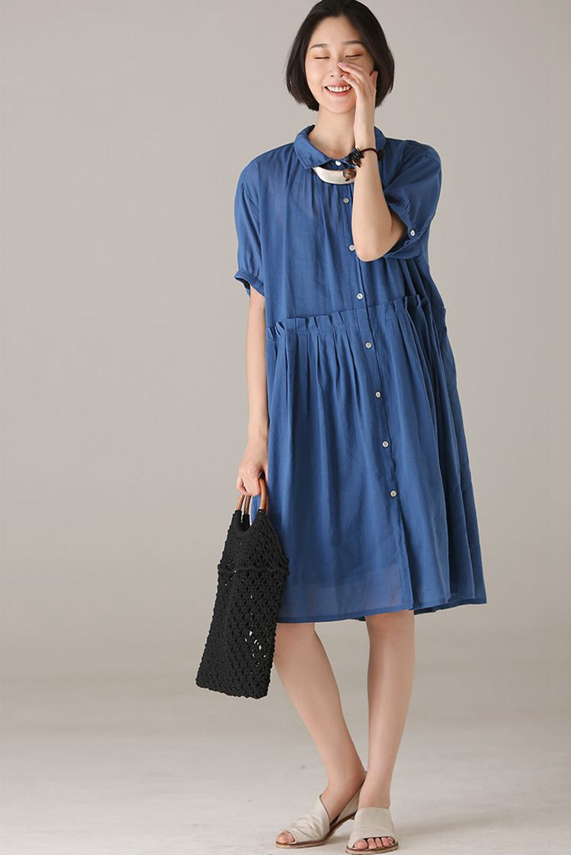 fc6af402aa1 Vintage Button Down Shirt Dresses Women Casual Clothes Q8279 ...