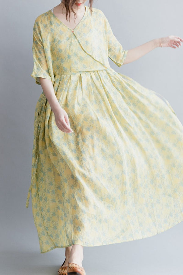 Chinese Style Cute Floral Women Long Dresses  Loose Lady Dress Q20417 - FantasyLinen
