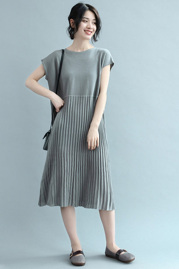 Summer Round Neck High Waist Pleated Dresses For Women Q2341