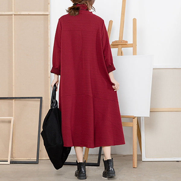 Red Plus Sweep High Neck Knitted Dresses For Women Q5111