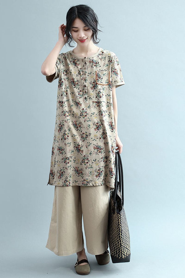 Women Summer Floral Cotton Long Dress Casual Clothes Q2348