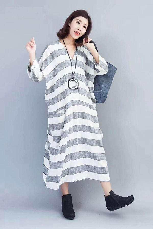 Fashion Striped Linen Maxi Dress Women Autumn Outfits 810