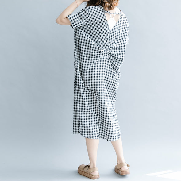 Fashion Black Plaid Cotton Linen Dresses Women Casual Outfits Q1076