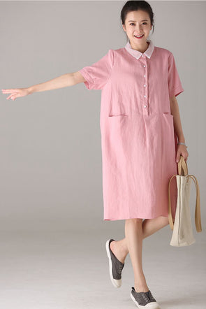 Cute Summer Pink Cotton Linen Dresses Women Casual Clothes Q8005