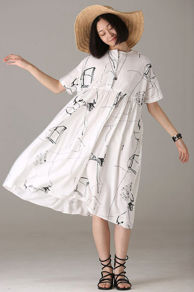 Loose White Plus Sweep Dresses Women Cotton Clothes Q1109