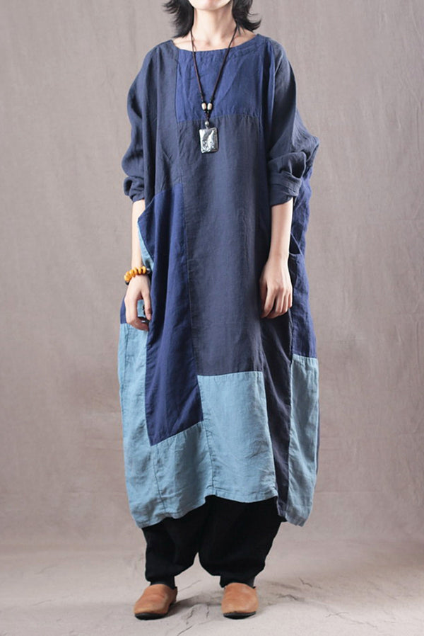 Loose Quilted Color Linen Maxi Dresses Women Gown Q3015