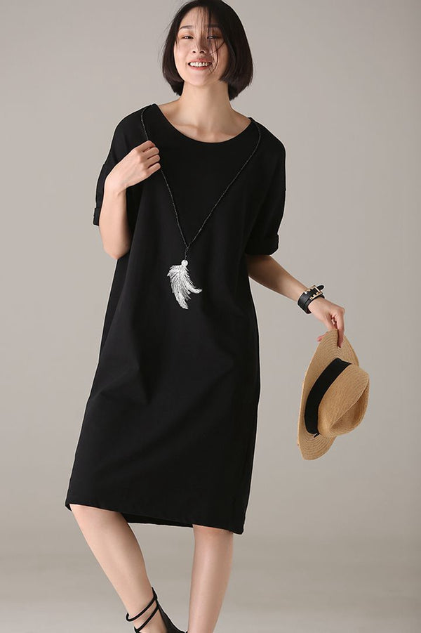 Casual Black Print Cotton Dresses Women Loose Outfits Q1208