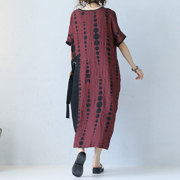 Casual Loose Black Dot Drawstring Linen Long Dress Women Clothes Q2151 - FantasyLinen