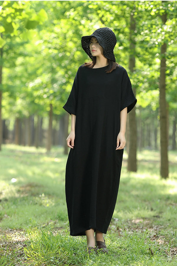 Plus Size Quilted Bat Sleeve Cotton Maxi Dress Q1457