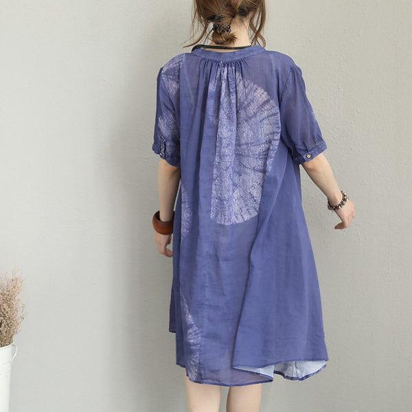 Fashion Purple Print Dresses Women Loose Clothes Q1229