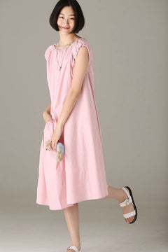 Summer Cute Pink Sundresses Women Cotton Clothes Q2120