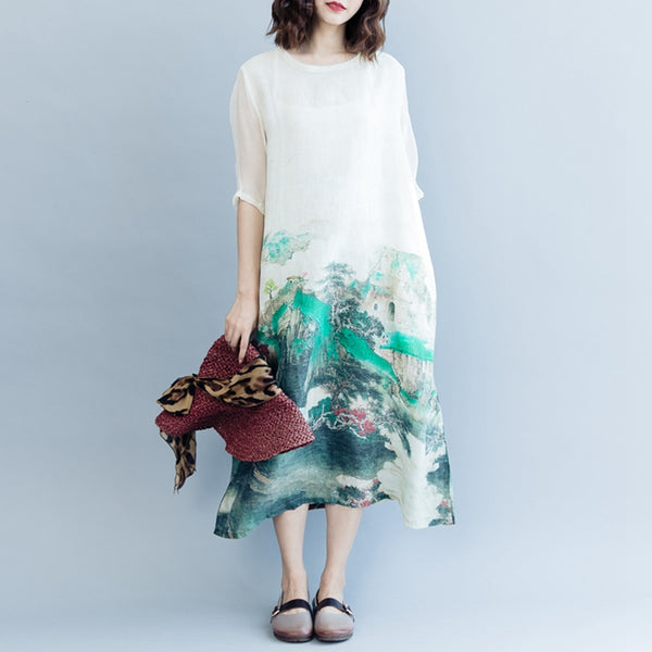 Cute Print Maxi Dresses Linen Clothes For Women Q2079
