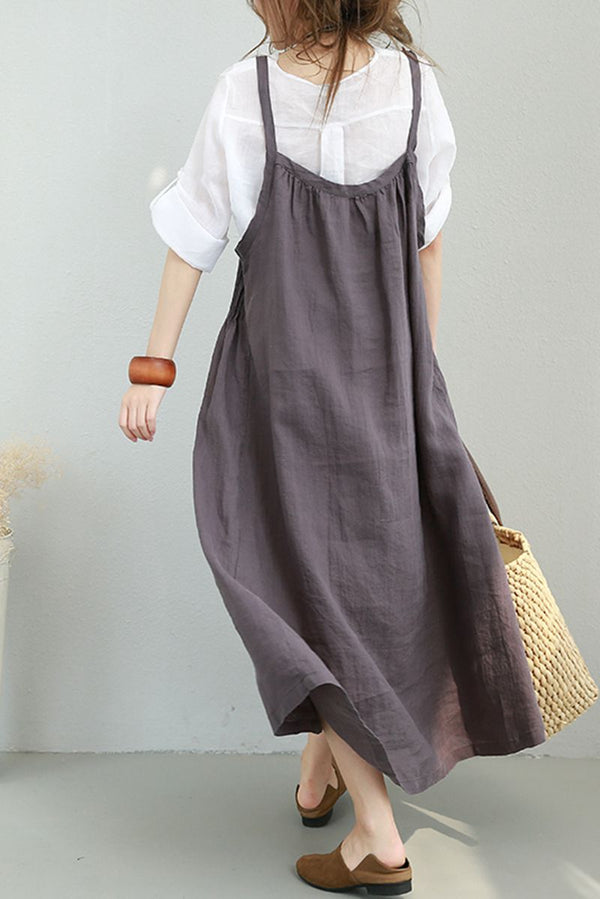 Women Summer Strap Linen Long Dress Casual Clothes