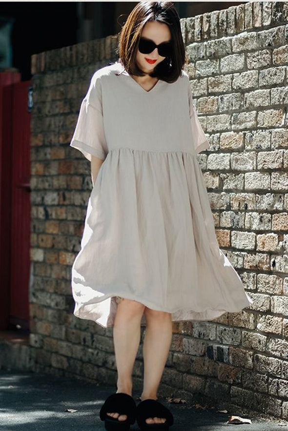 Casual Round Neck Large Sweep Long Dress For Women Q9158 - FantasyLinen