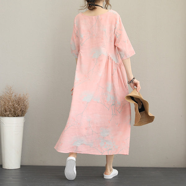 Cute Loose Pink Print Maxi Dresses Women Linen Clothes Q1169