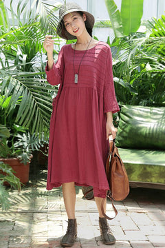 Cute Red Cotton Linen Dresses Women Plus Size Clothes Q2165